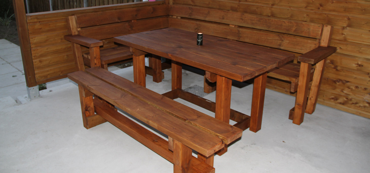 Corner Bench and Table Set 3